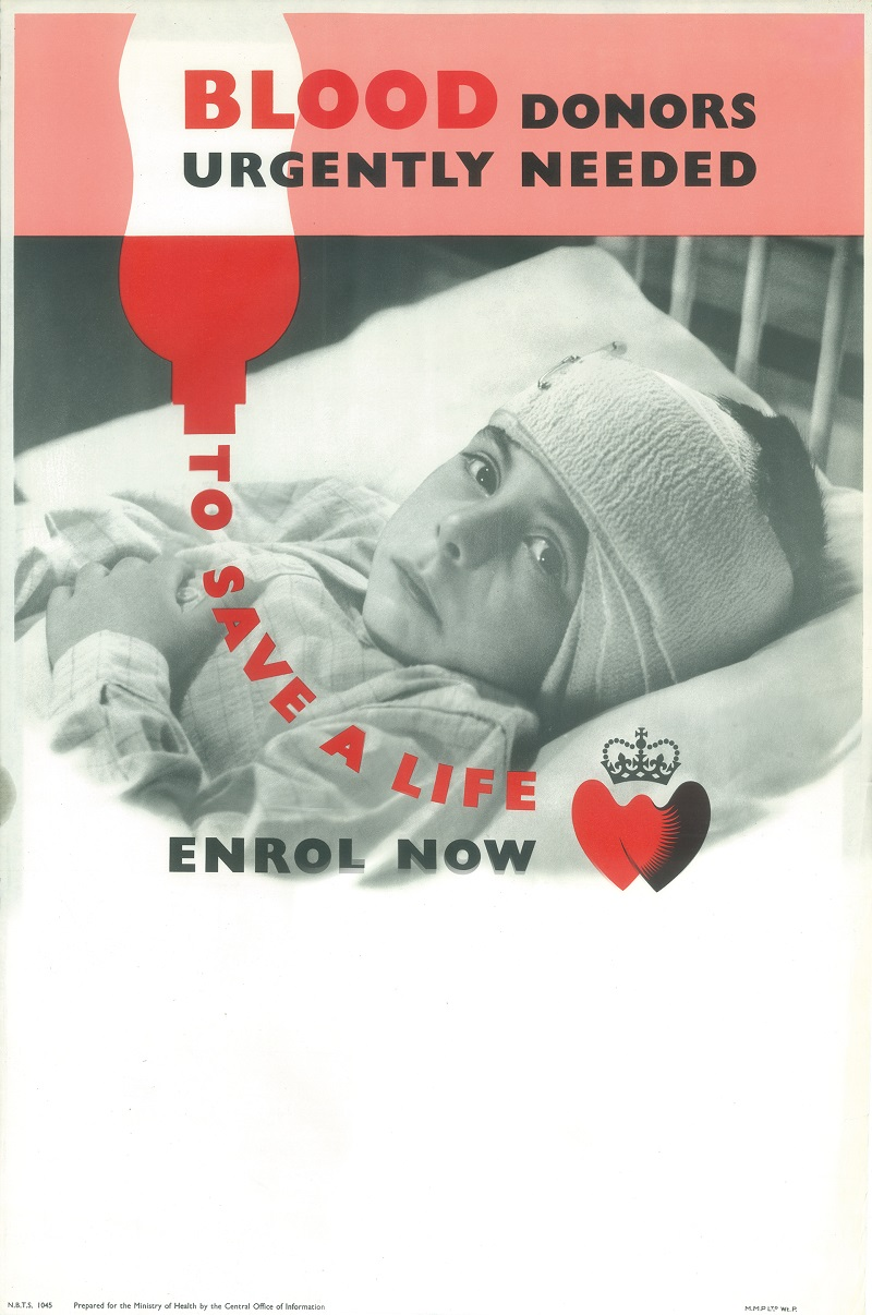 A vintage blood donor recruitment poster depicting a child in a hospital bed.