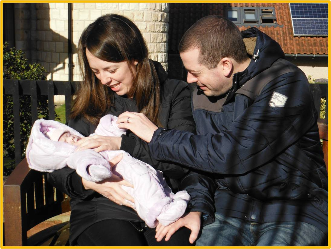 Amanda and Pete Ridgwell, with baby Emily