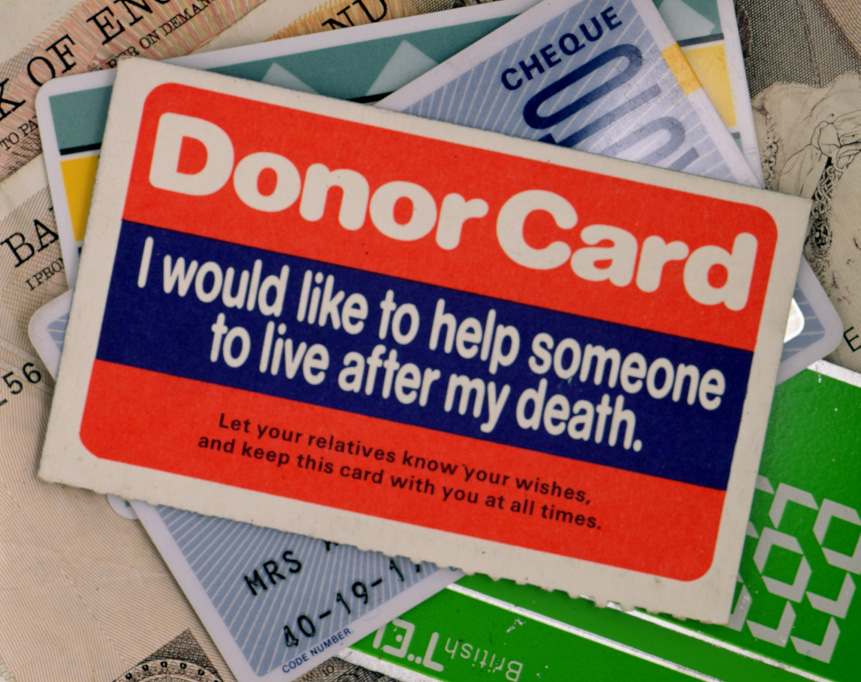 An organ donor card from the 1980s