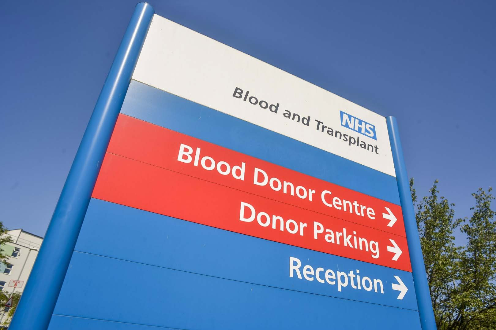 NHS Blood and Transplant Blood Donor Centre sign