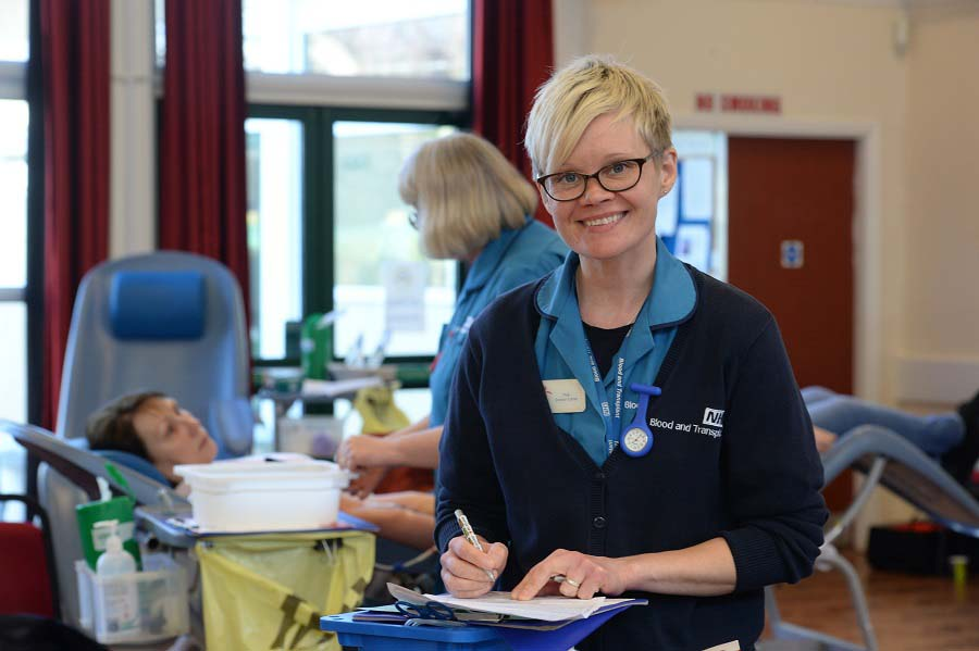 A donor carer at a donor session in Winterbourne
