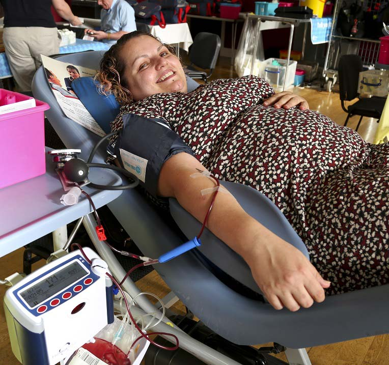 Ursula giving blood in Manchester
