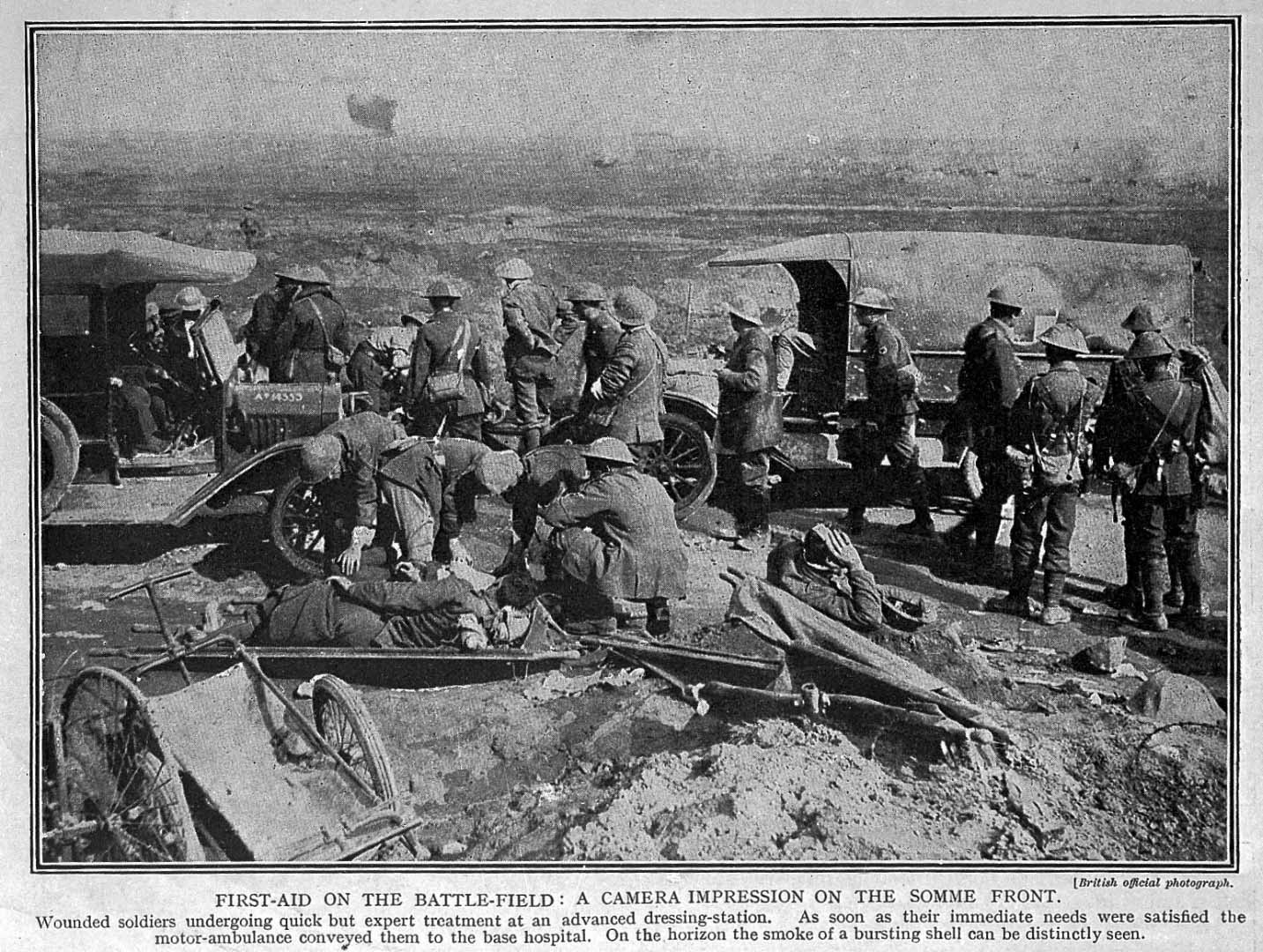 First-aid on the battle field: a photograph from the Somme front during the First World War