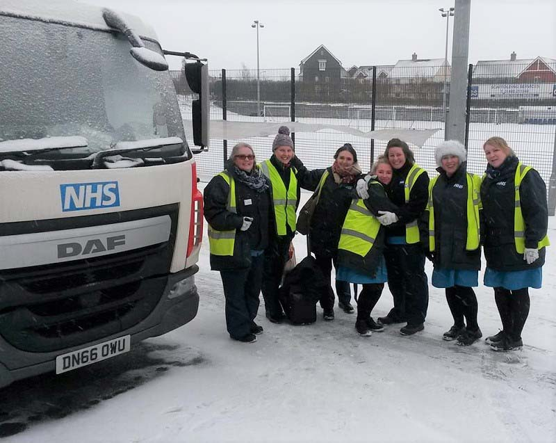Huntingdon blood donation team in the snow