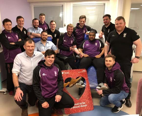 Wheatley rugby team at a donation session