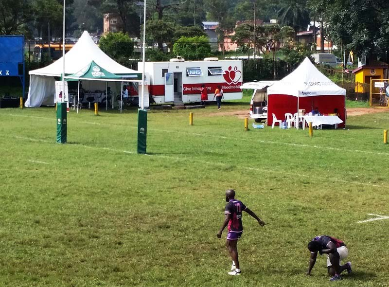 NHSBT bloodmobile at a rugby match in Uganda
