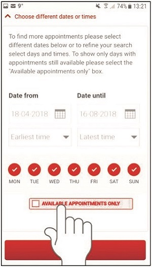 NHSGiveBlood app screenshot 2
