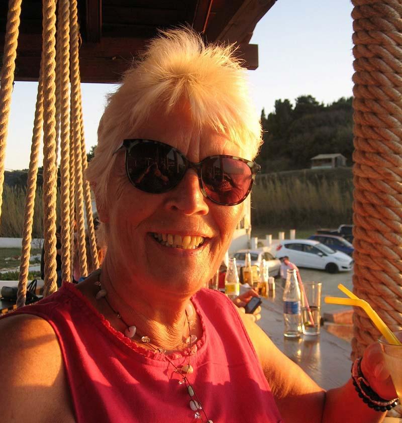 Diana Reynolds enjoying the sunshine