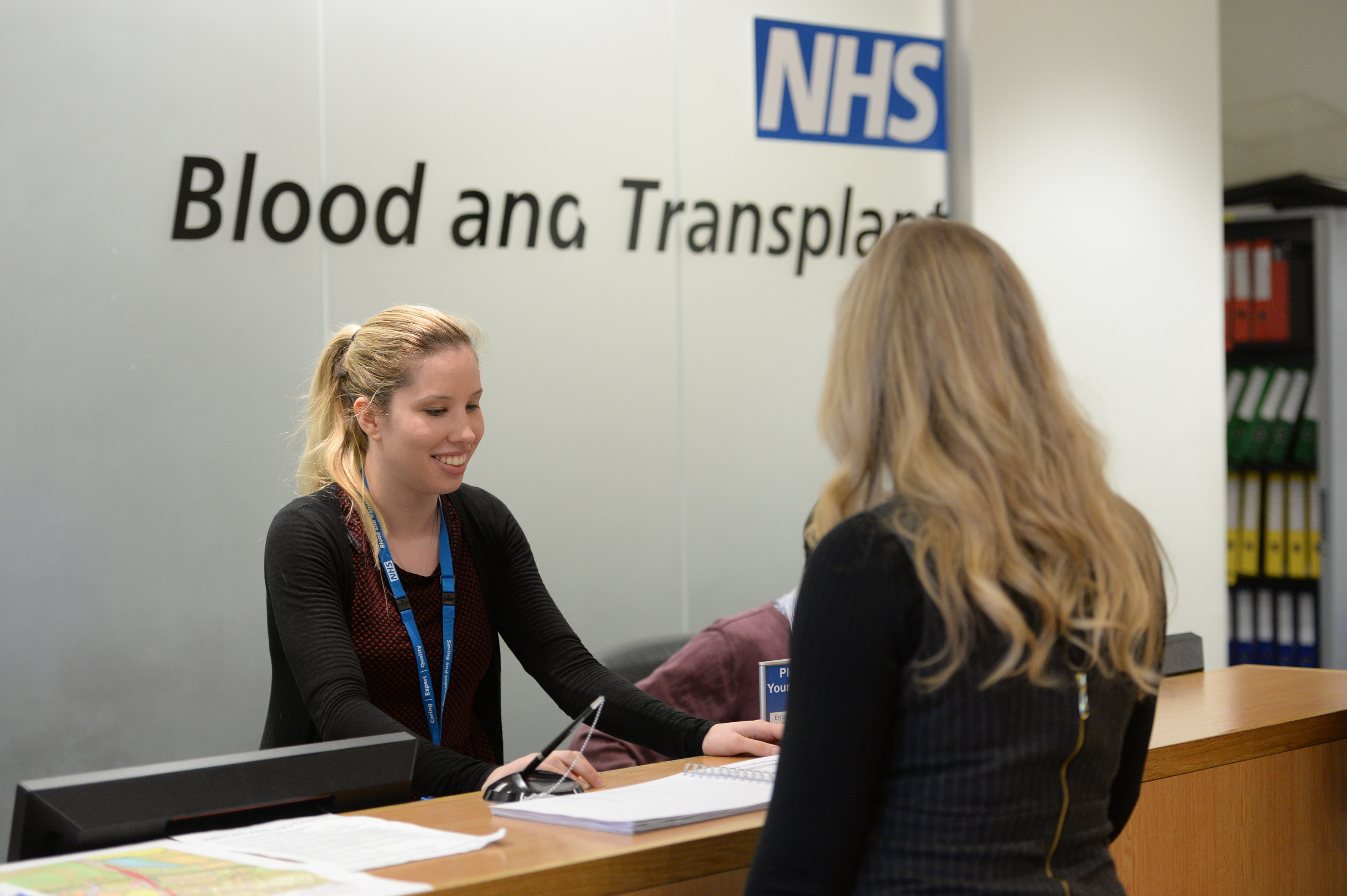 Staff at NHSBT Filton welcome a visitor