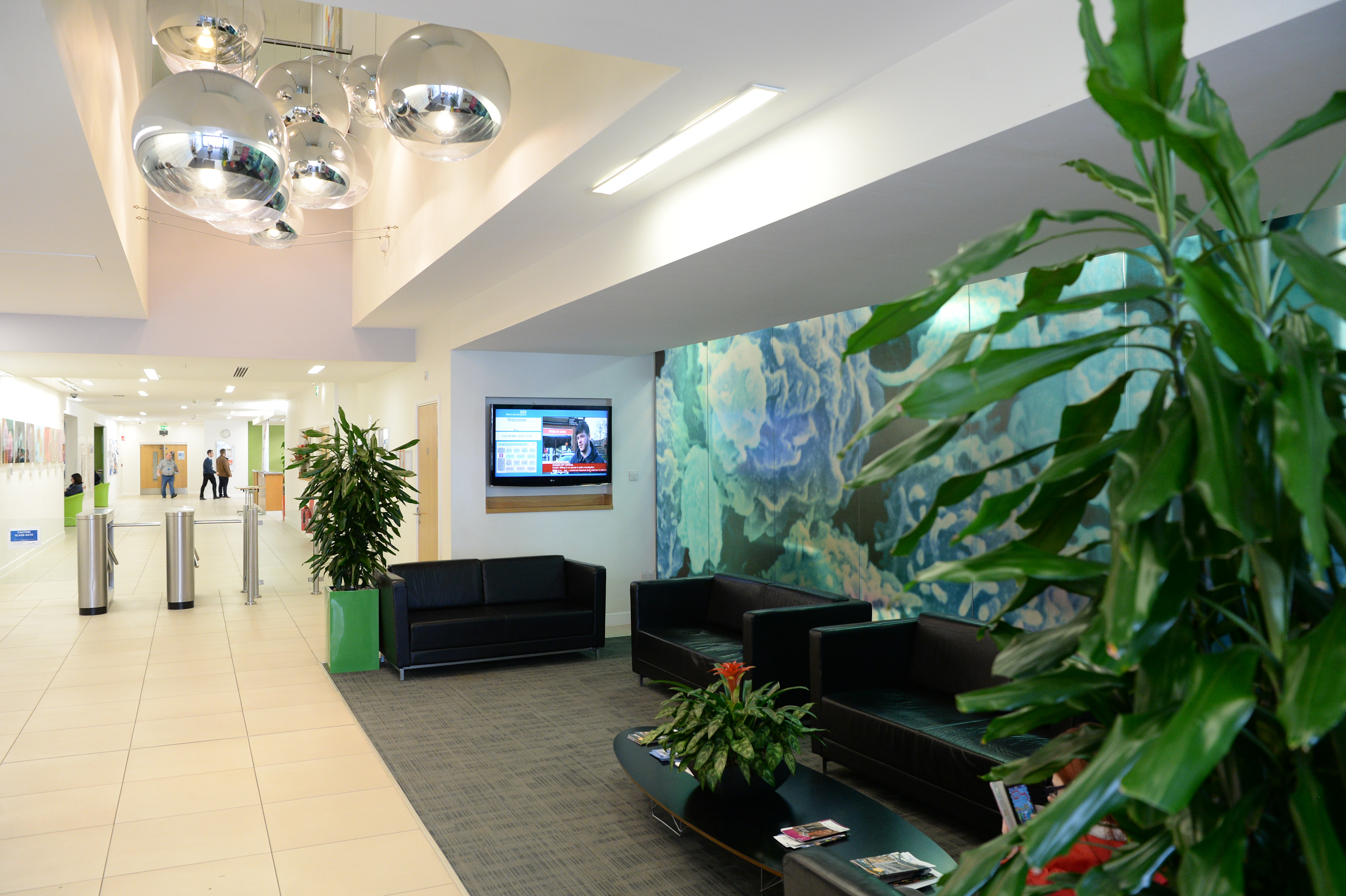 The reception area at NHSBT's Filton centre