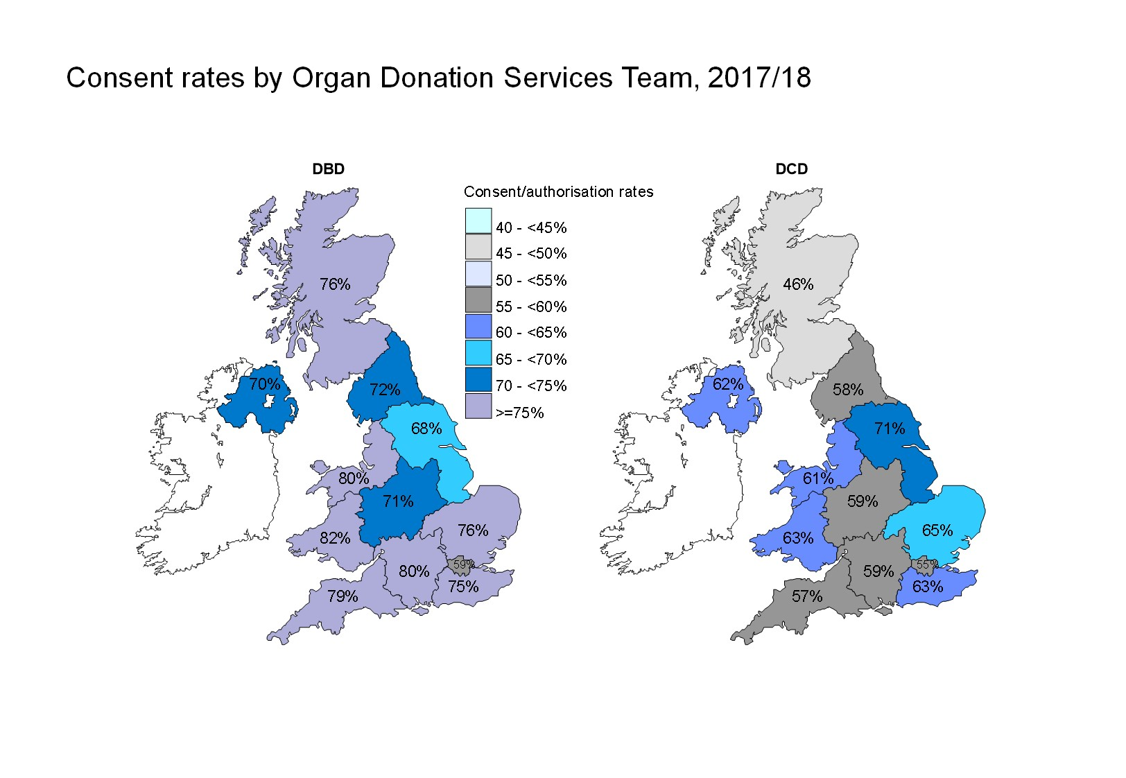 Consent rates by Organ Donation Services Team 2017/18