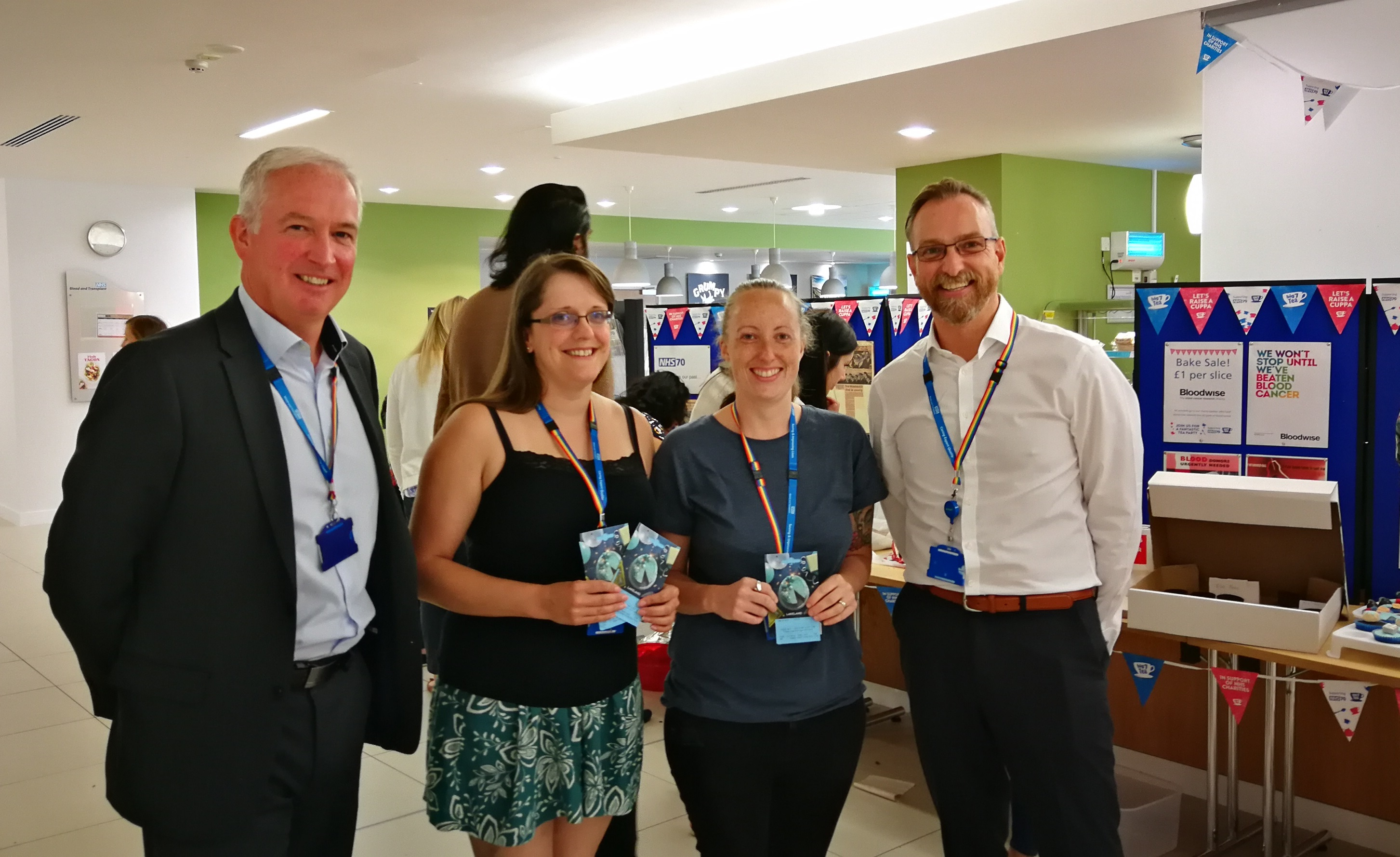 NHSBT Filton Head of Centre Daryl Hall and Estates and Facilities Assistant Director Ian Freestone with star bakers Diane Bent (Testing) and Jessica Cousins (Manufacturing)