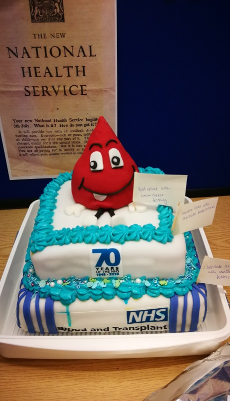 A 'Billy Blood Drop' cake commemorating 70 years of the NHS