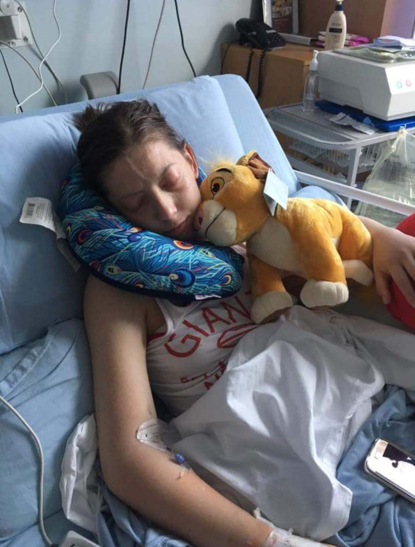 Jade Carr in hospital before her transplant