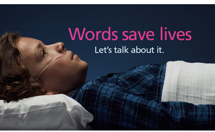 Words save lives campaign image