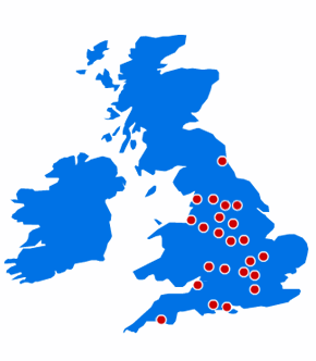 A map of the UK showing permanent blood donation centres in England
