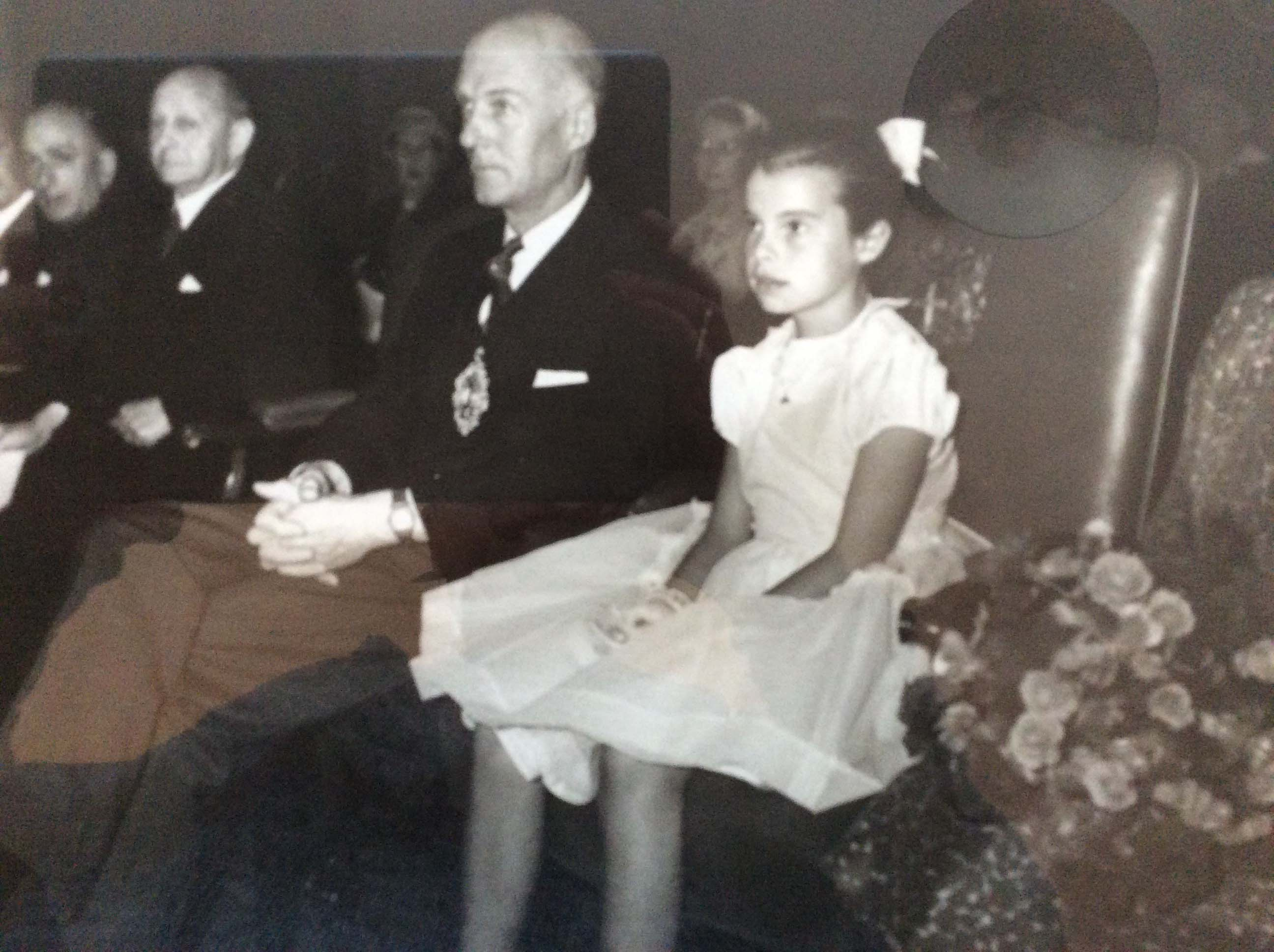 Maggie at a ceremony to thank blood donors in 1958