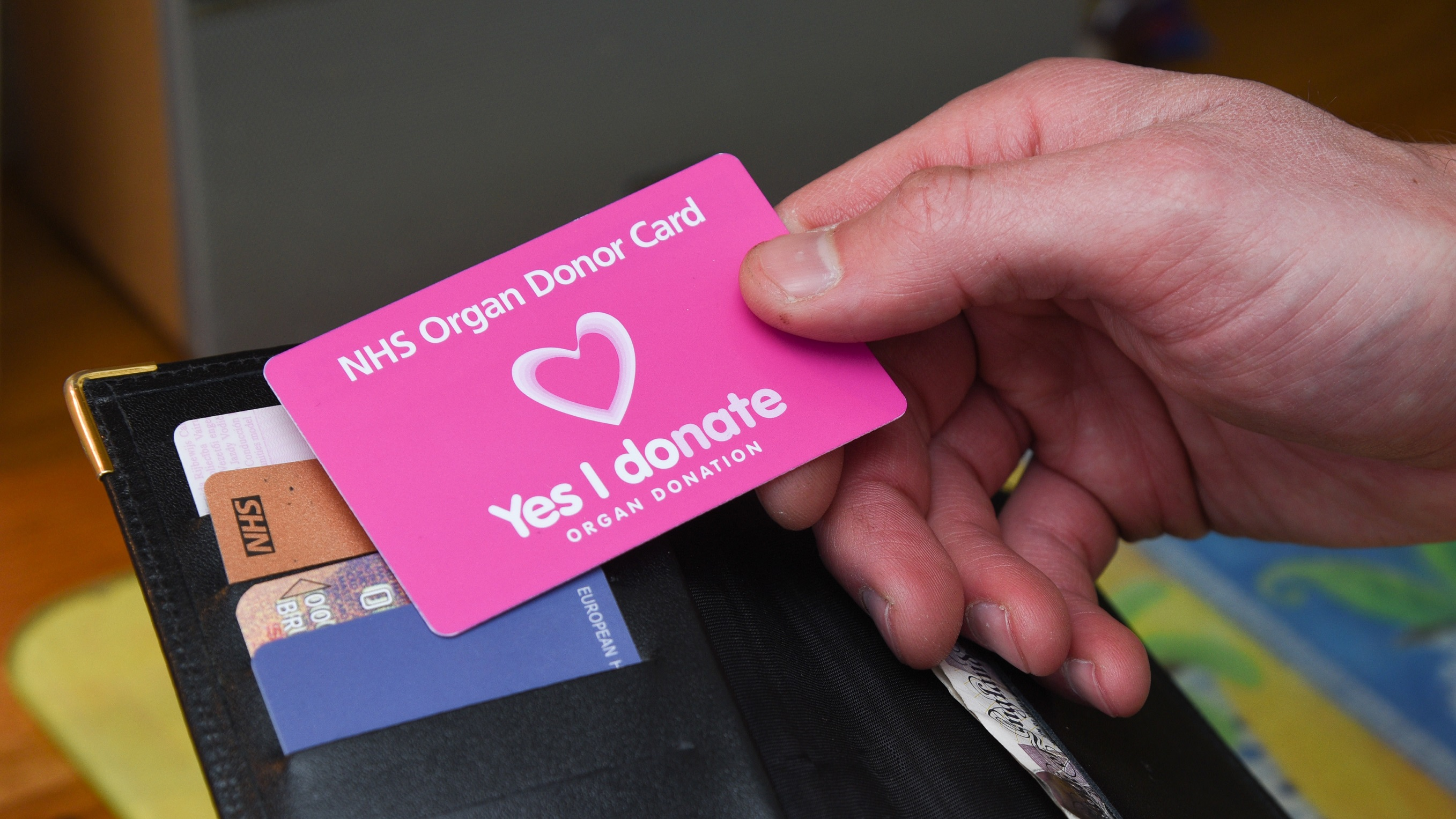 Image of a wallet containing an NHS Organ Donor Card