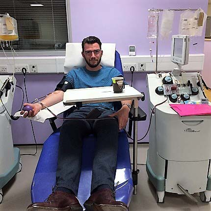 Steve Hill in a donor chair