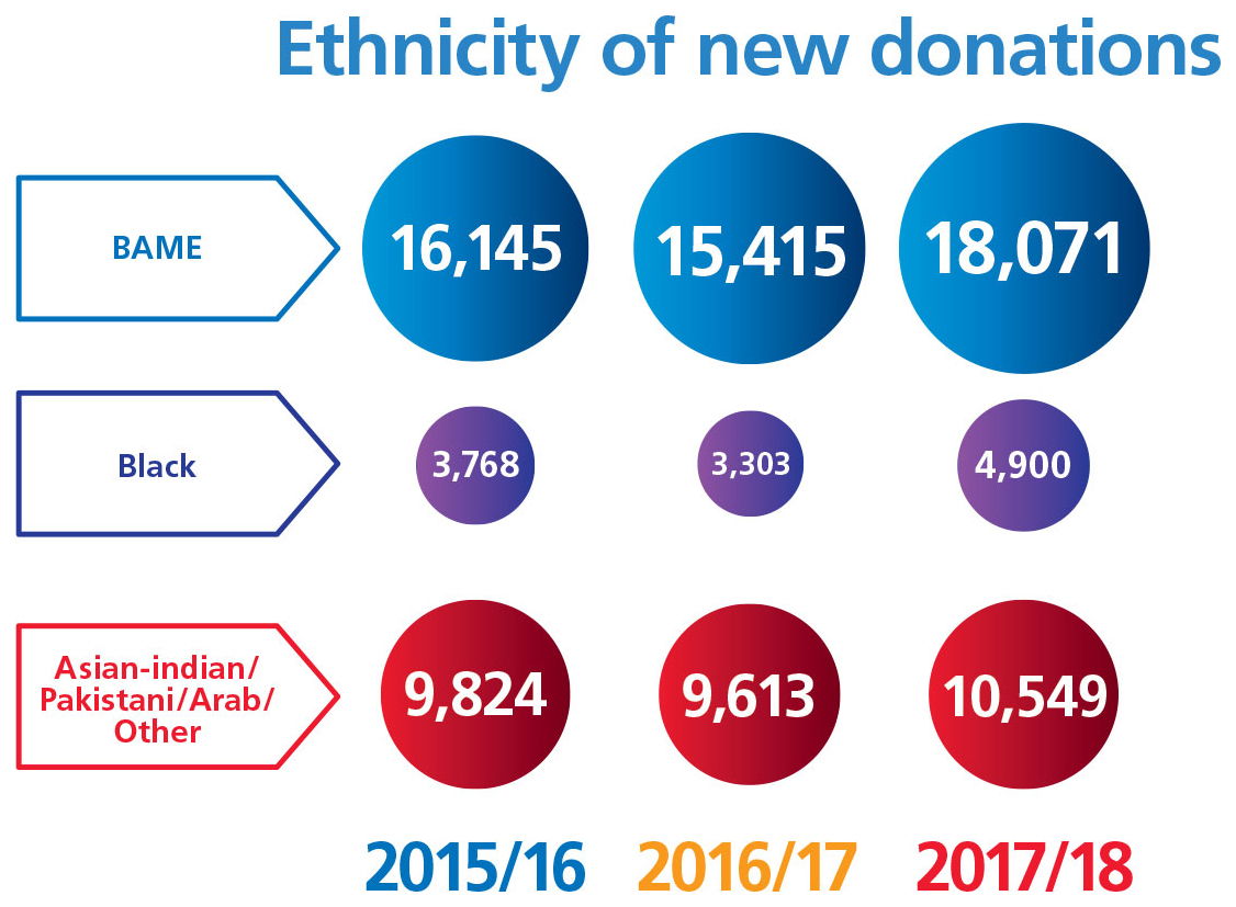 Chart showing ethnicity of new donations