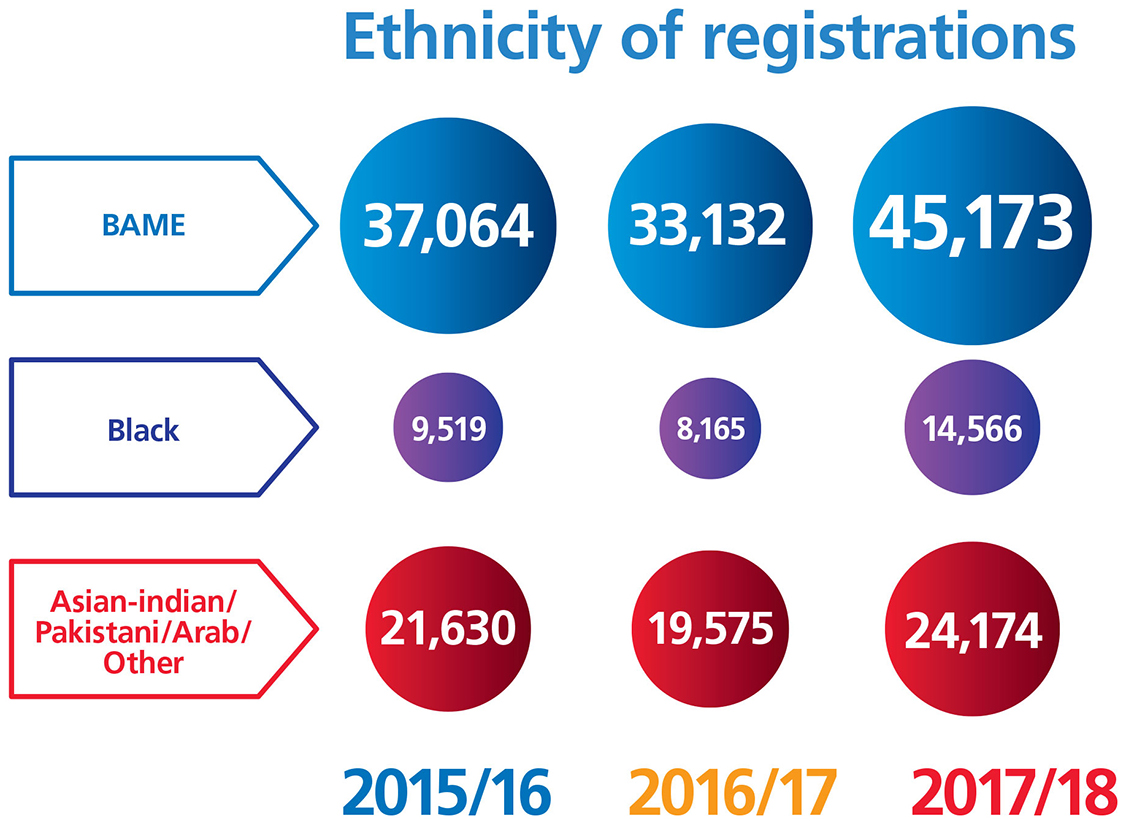 Graphic showing ethnicity of new registrations