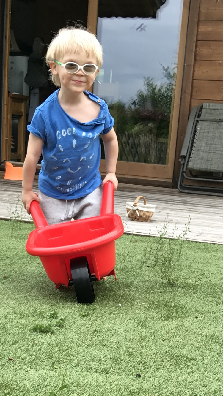 Benjamin plays with a red wheelbarrow in a garden