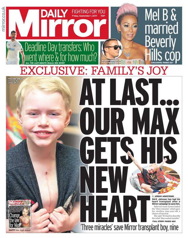 "A Daily Mirror front page headline that reads ""At last... our Max gets his new heart"" with an image of a smiling Max showing off his operation scar"