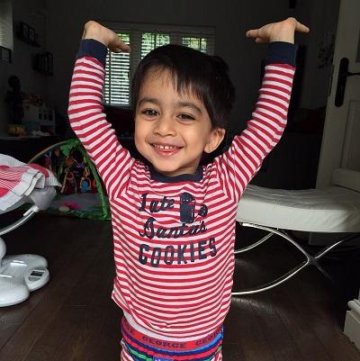 Aari in his pyjamas