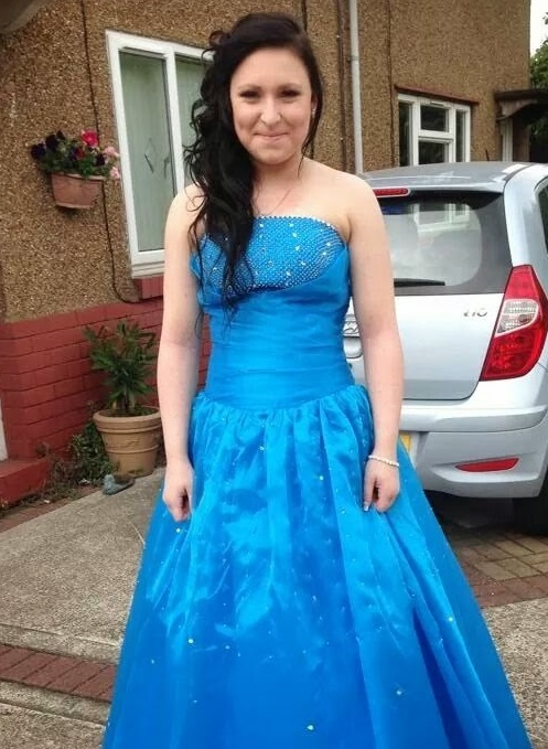 Kirsty in her prom dress, smiling