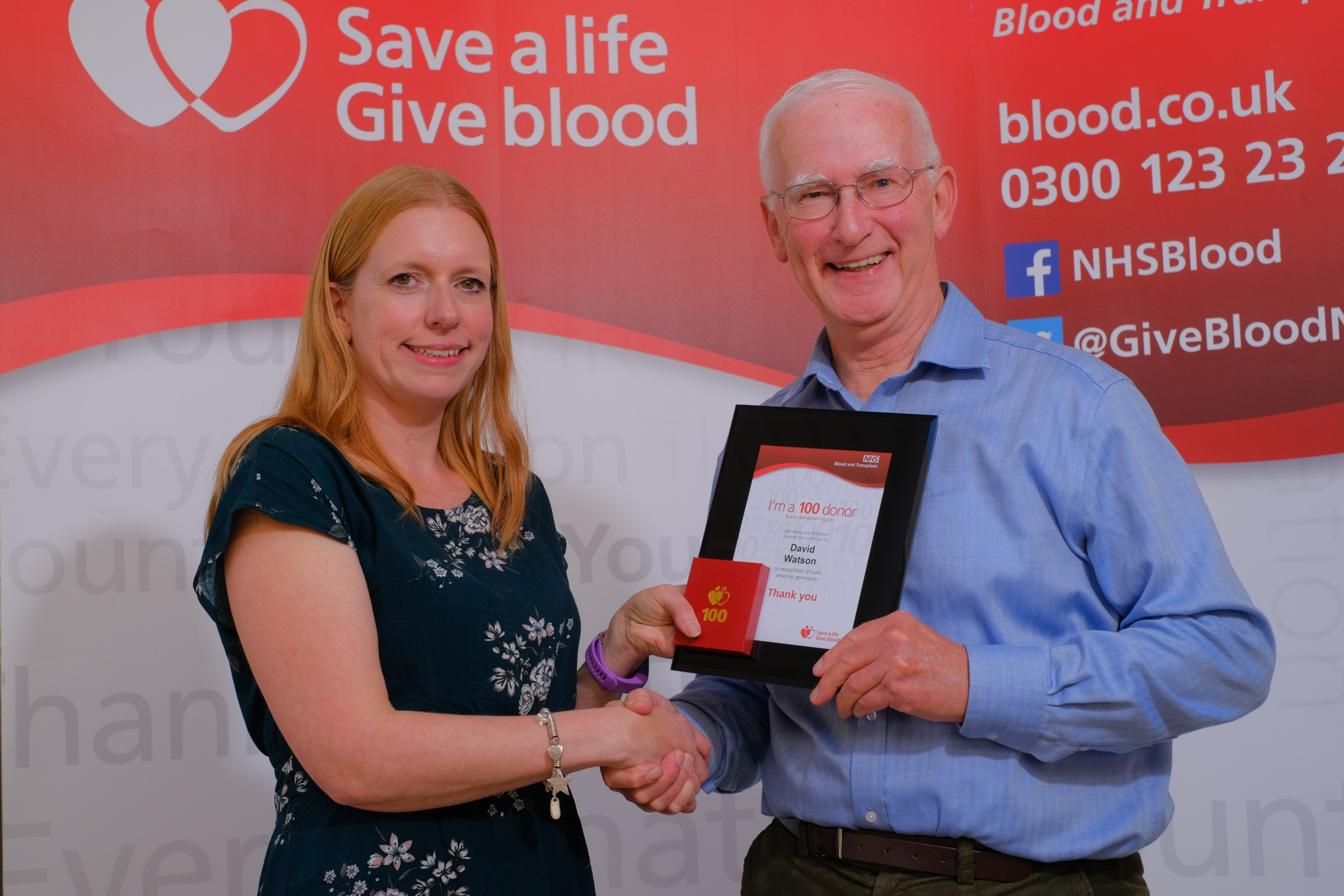 David Watson receives his 100th donation award