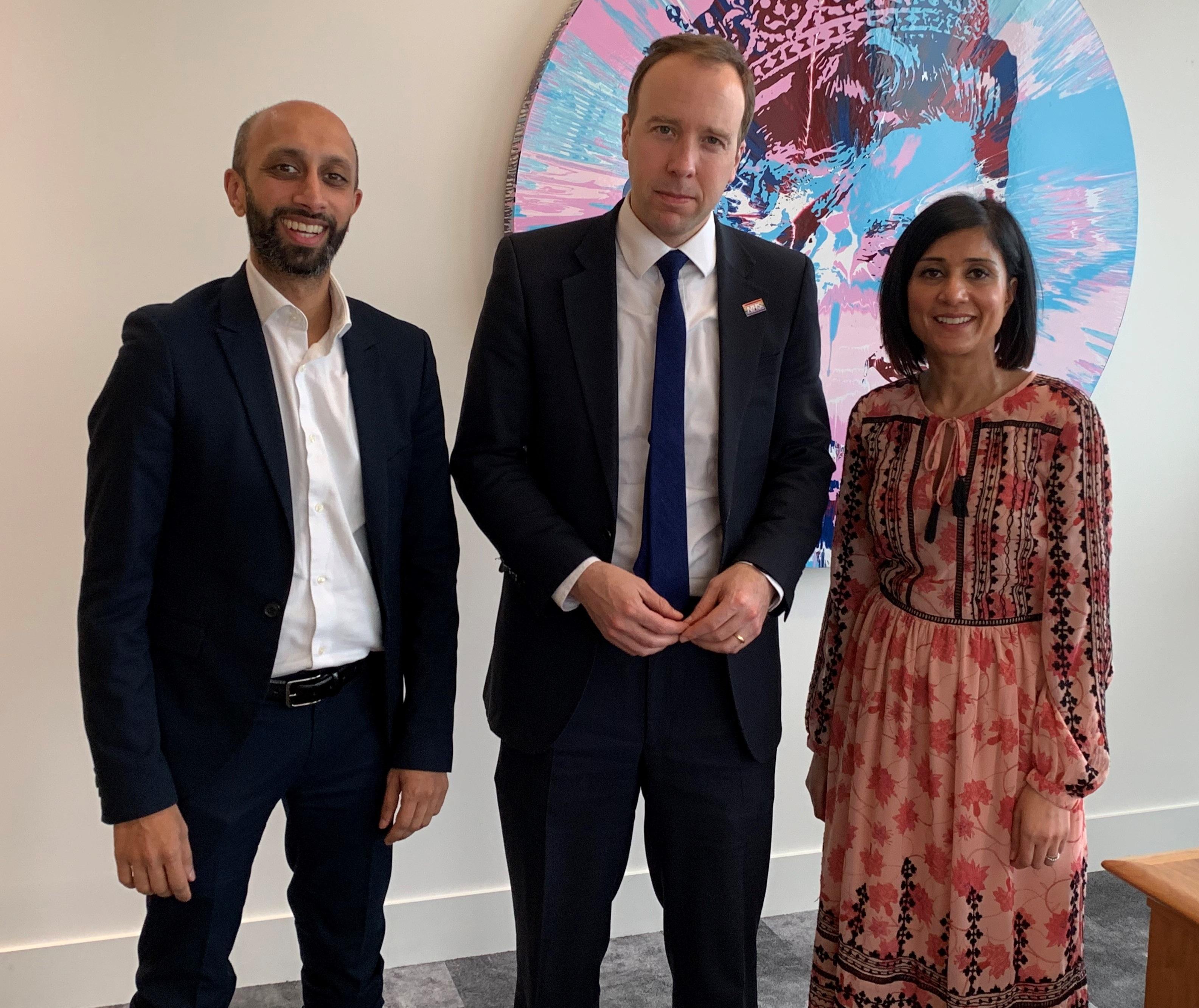Jay and Sina Patel with Health Secretary Matt Hancock