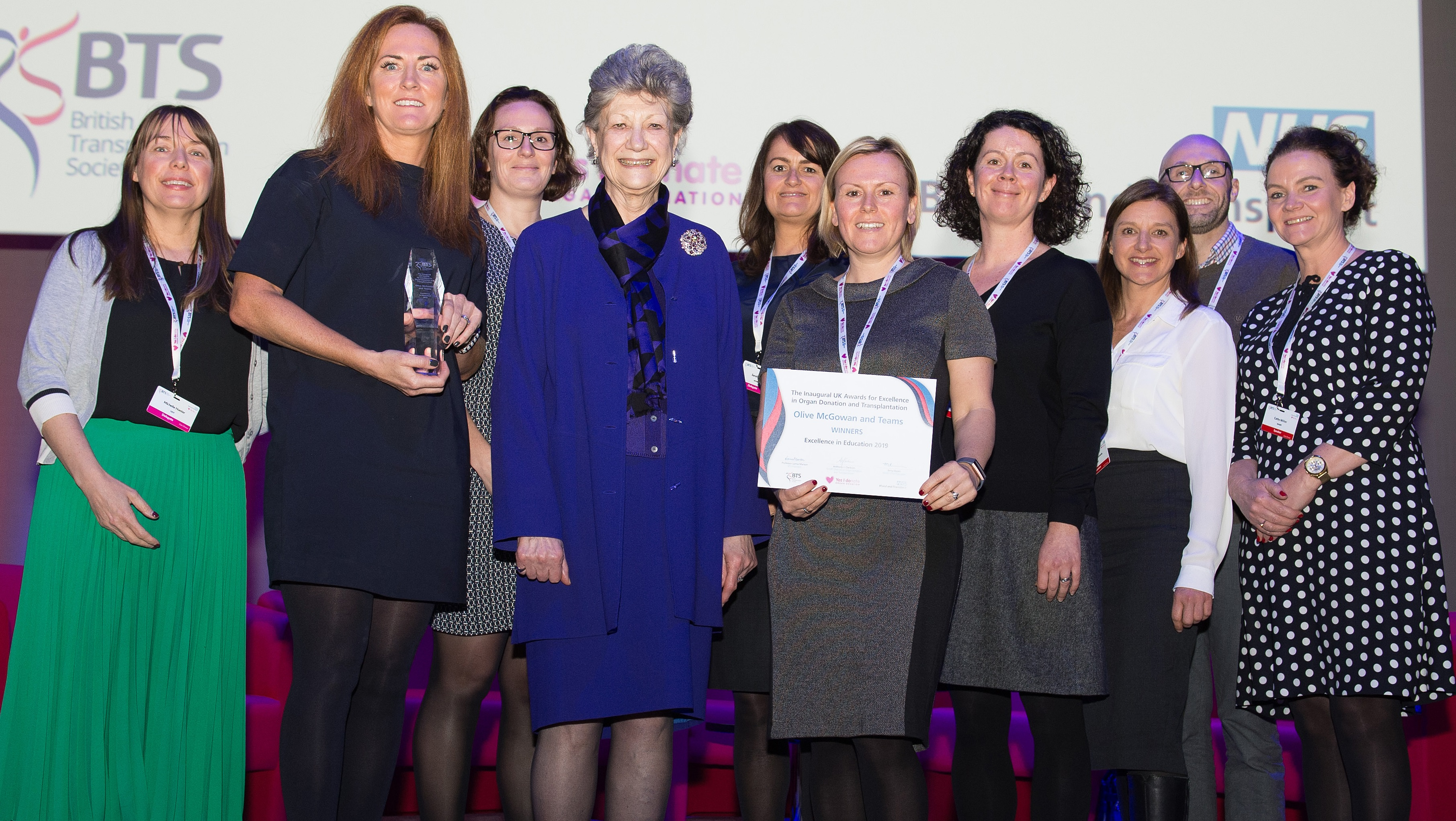 Olive McGowan and her team at NHS Blood and Transplant receiving the Excellence in Education award