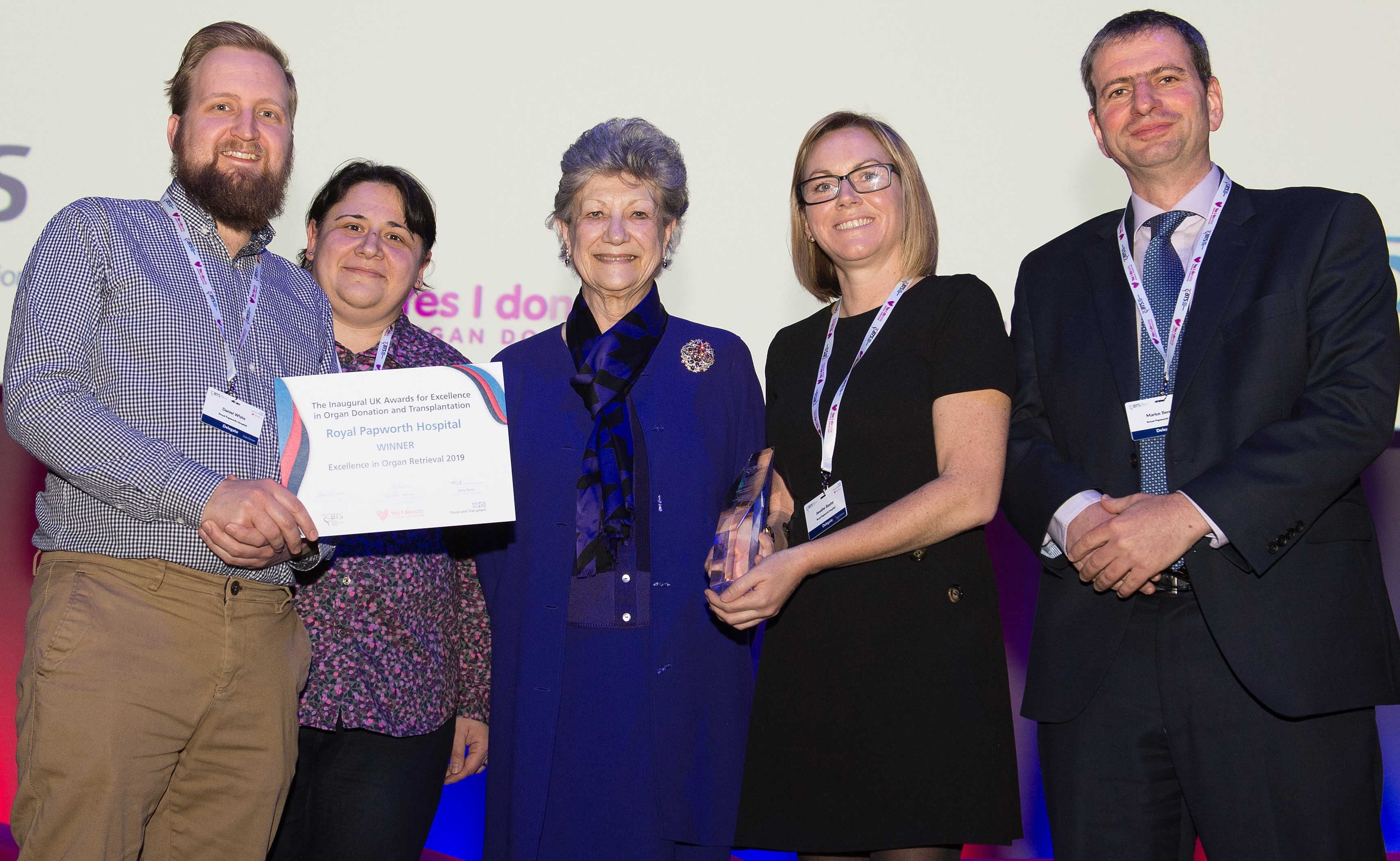 Staff from The Royal Papworth Hospital receiving the award for Excellence in Organ Retrieval