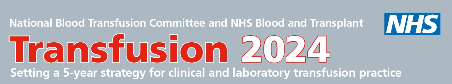 "Transfusion 2024 logo: ""Setting a 5-year strategy for clinical and laboratory transfusion practice"""