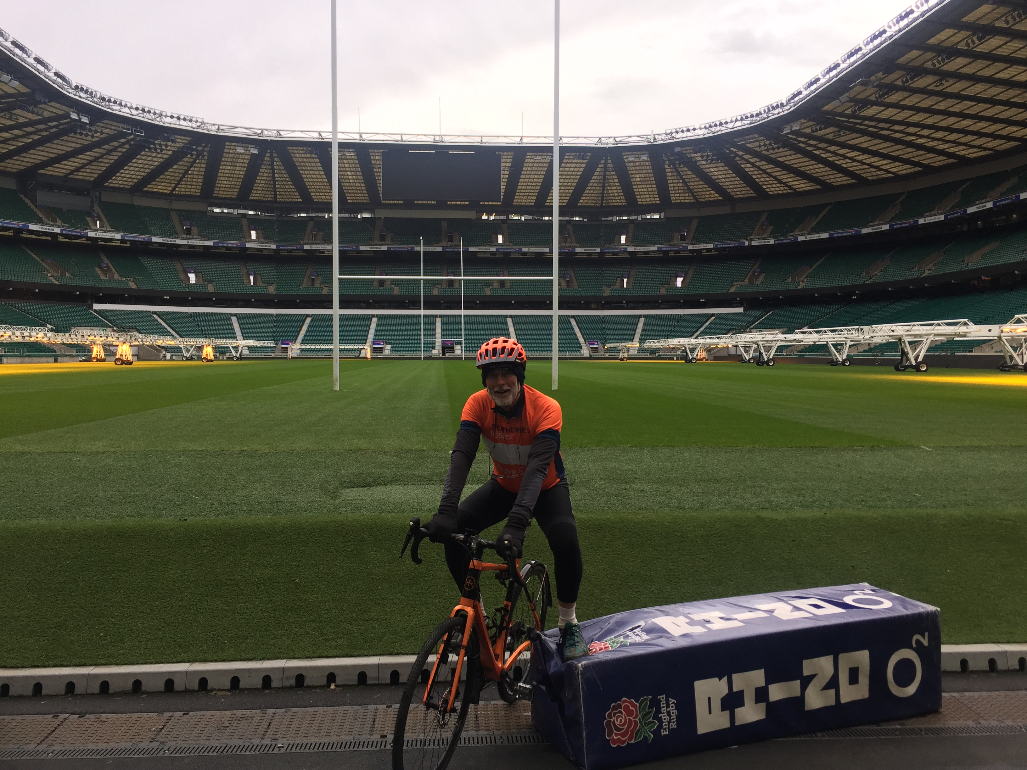Patrick McIntosh on his bike at Twickenham