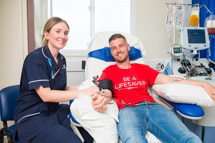 James donating at the NHSBT TAS unit