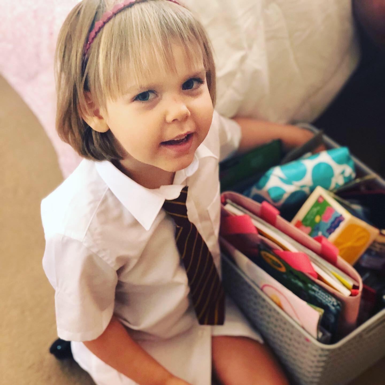 Sophia in her school uniform