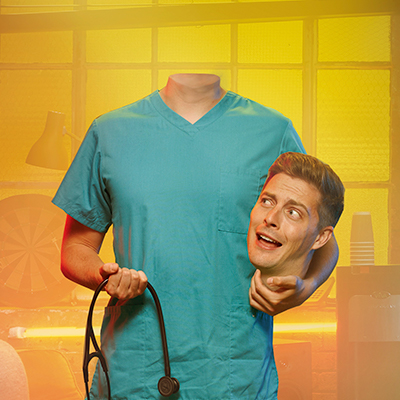 Dr Alex holds his head in one hand and a stethoscope in the other