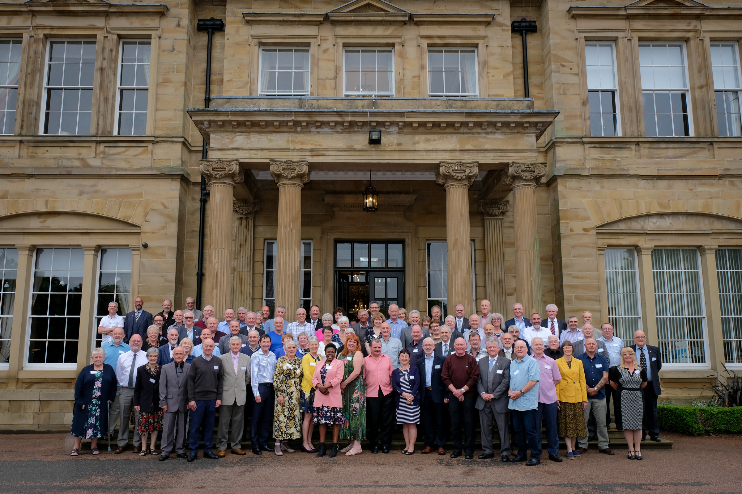 Donors outside a ceremony at Oulton Hall, West Yorkshire
