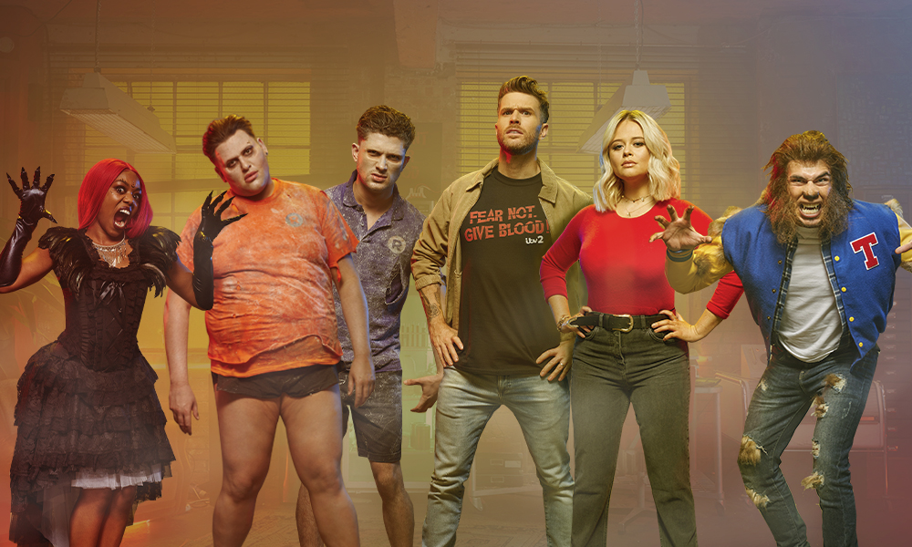 Lady Leshurr, David Potts, Jordan Davies, Joel Dommett, Emily Atack and Tommy Fury in Halloween costumes