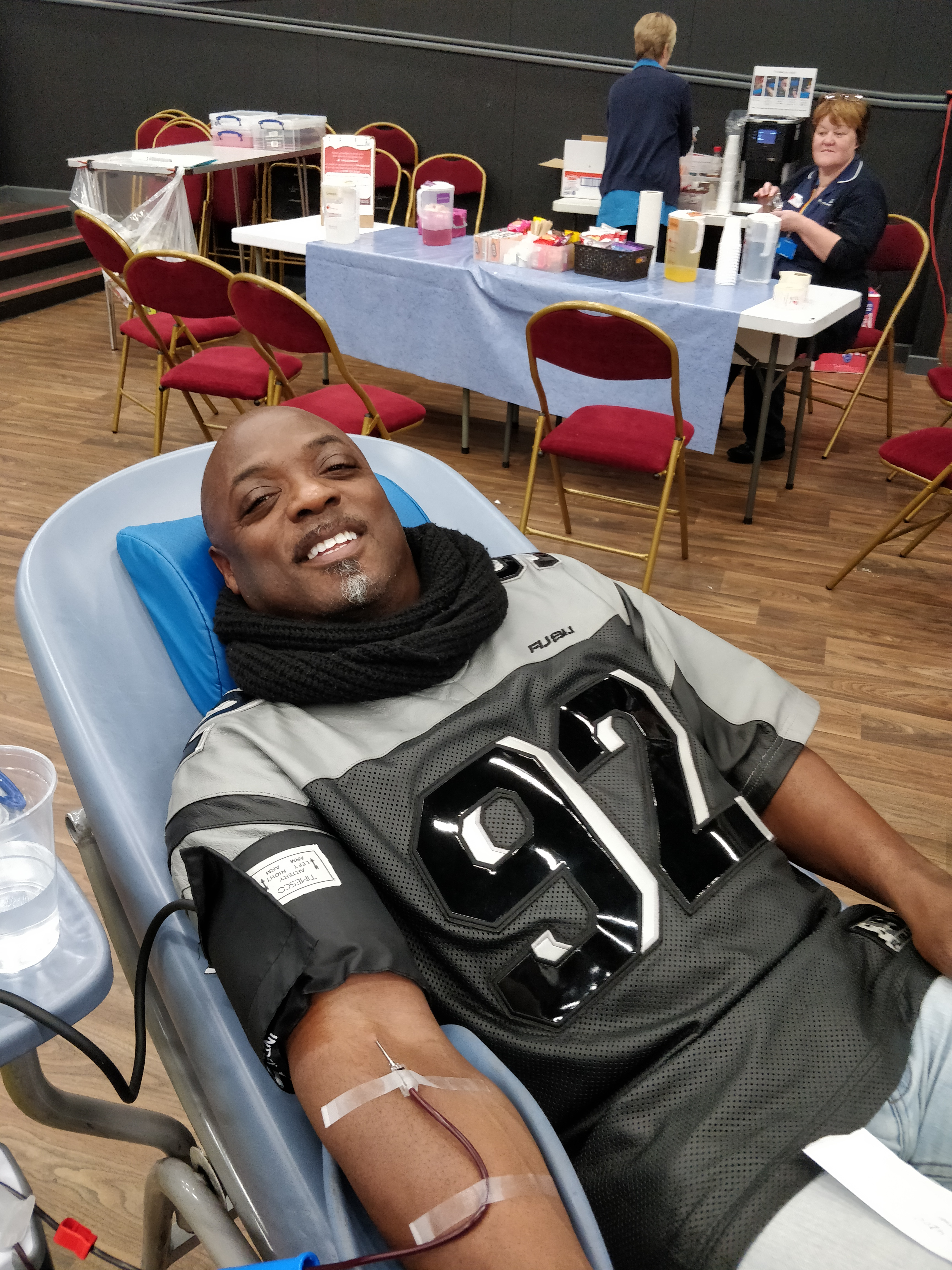 Ronald donating blood