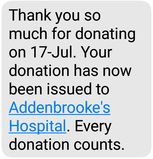 A text message displays where a donation has gone