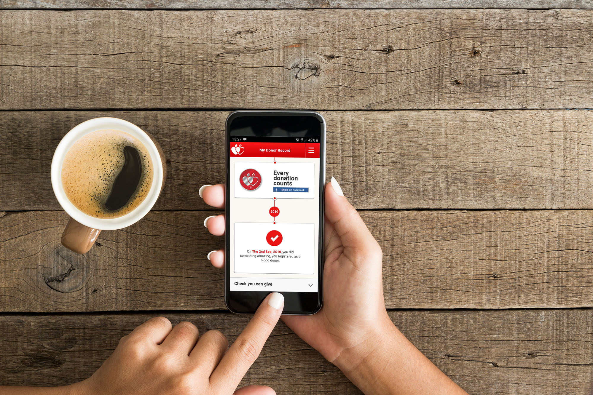 Person using the NHSGiveBlood app