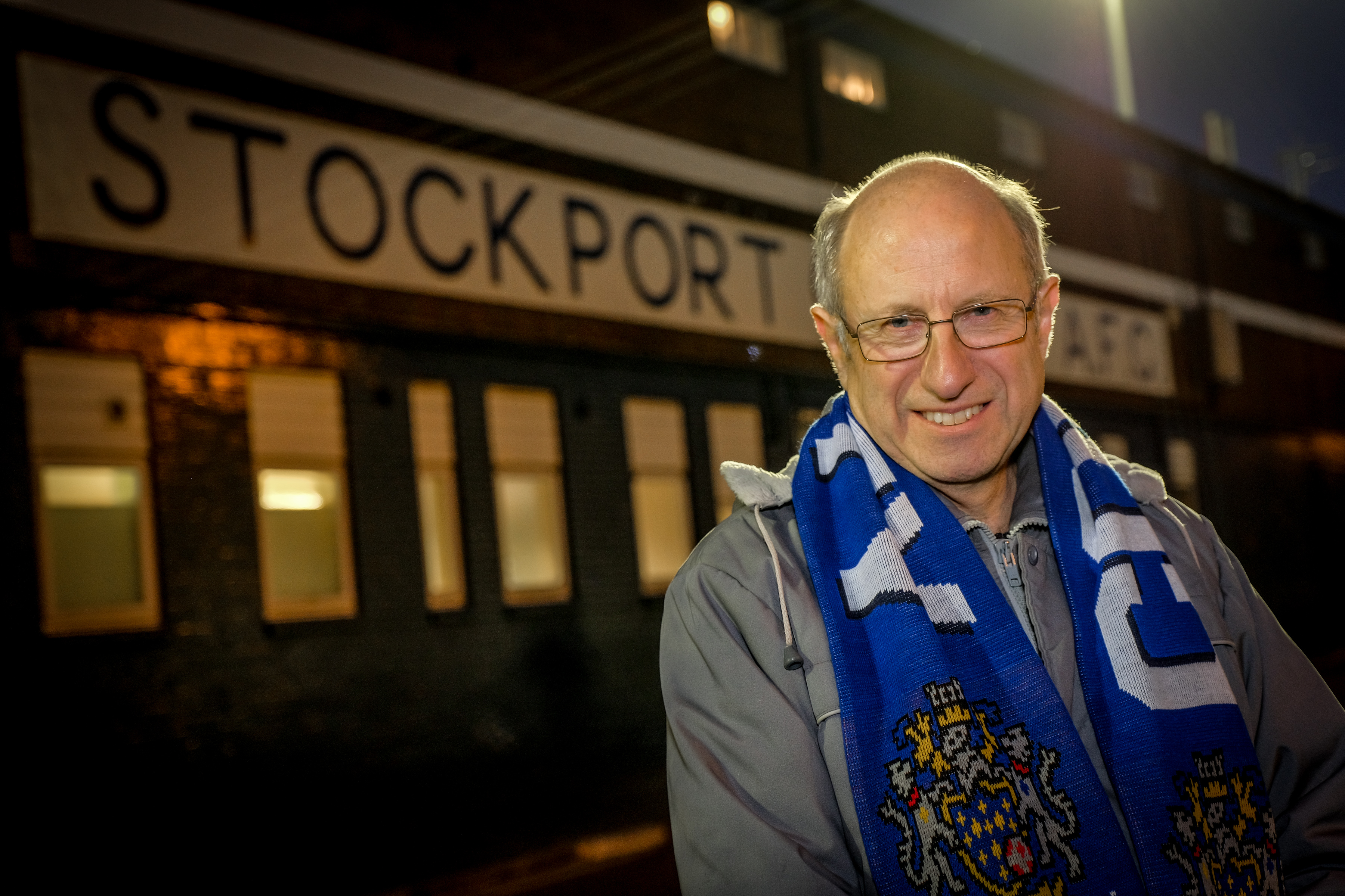 Steve outside Stockport Country's stadium