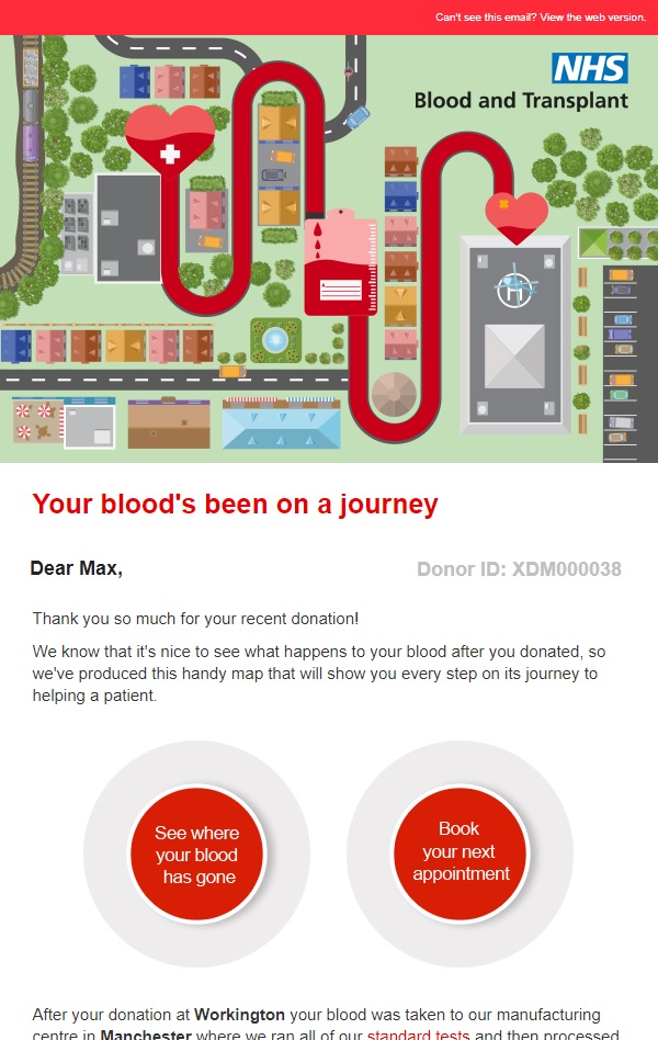 A Google Map showing the journey of a blood donation