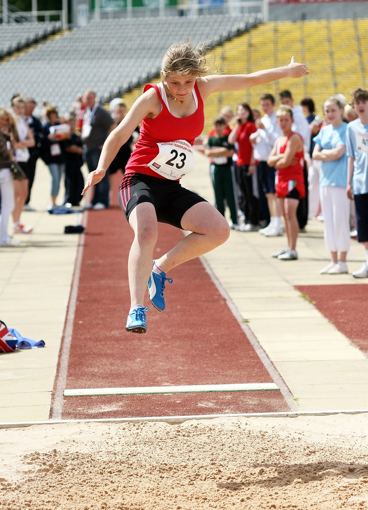 Liver recipient Naomi Smith competing in the long jump event at the British Transplant Games