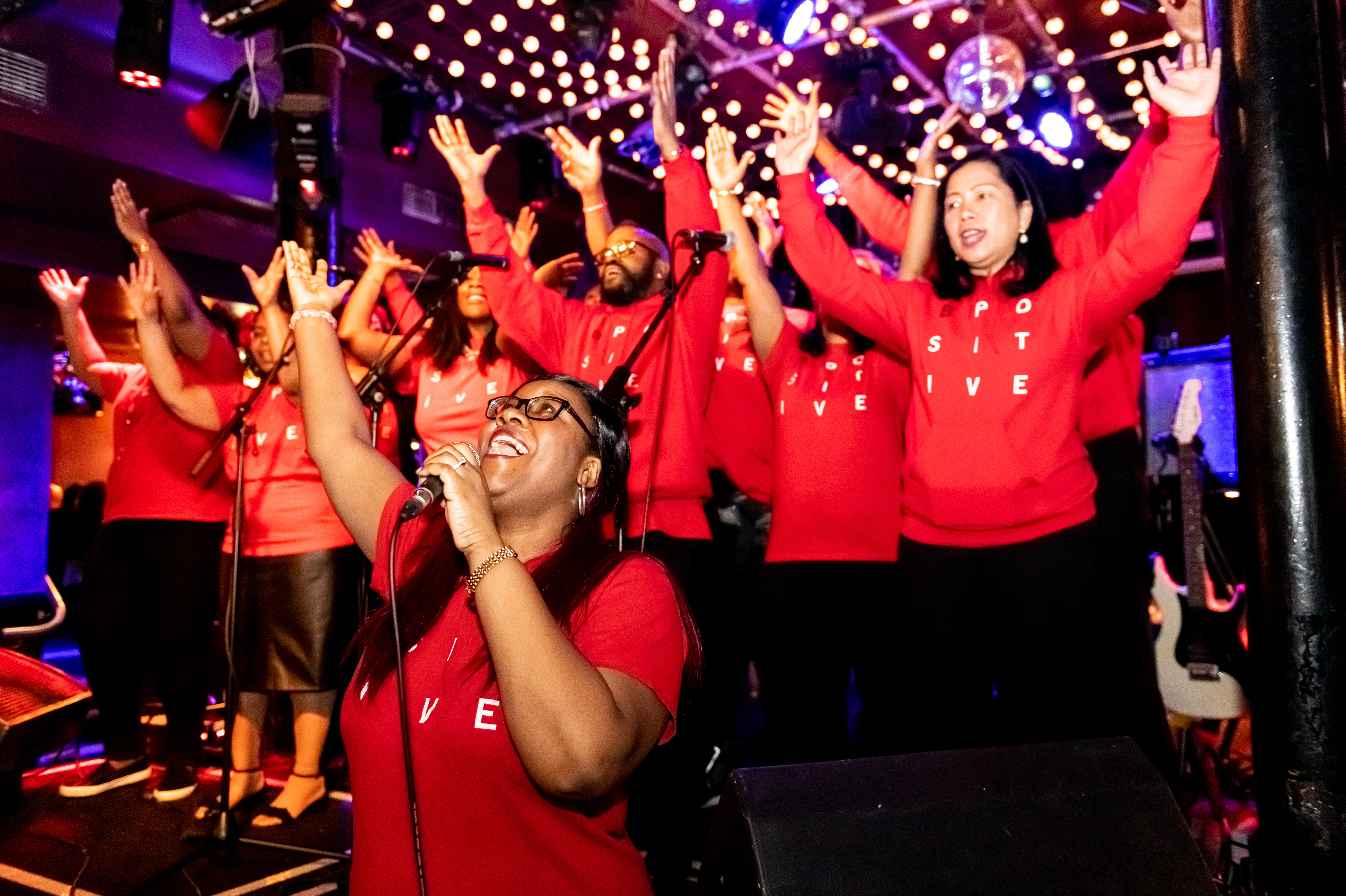 The B Positive choir perform at the anniversary celebrations