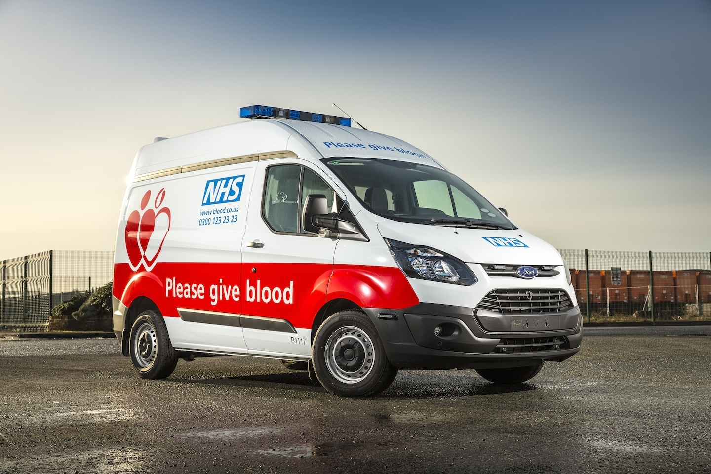 A small NHS Blood and Transplant delivery van