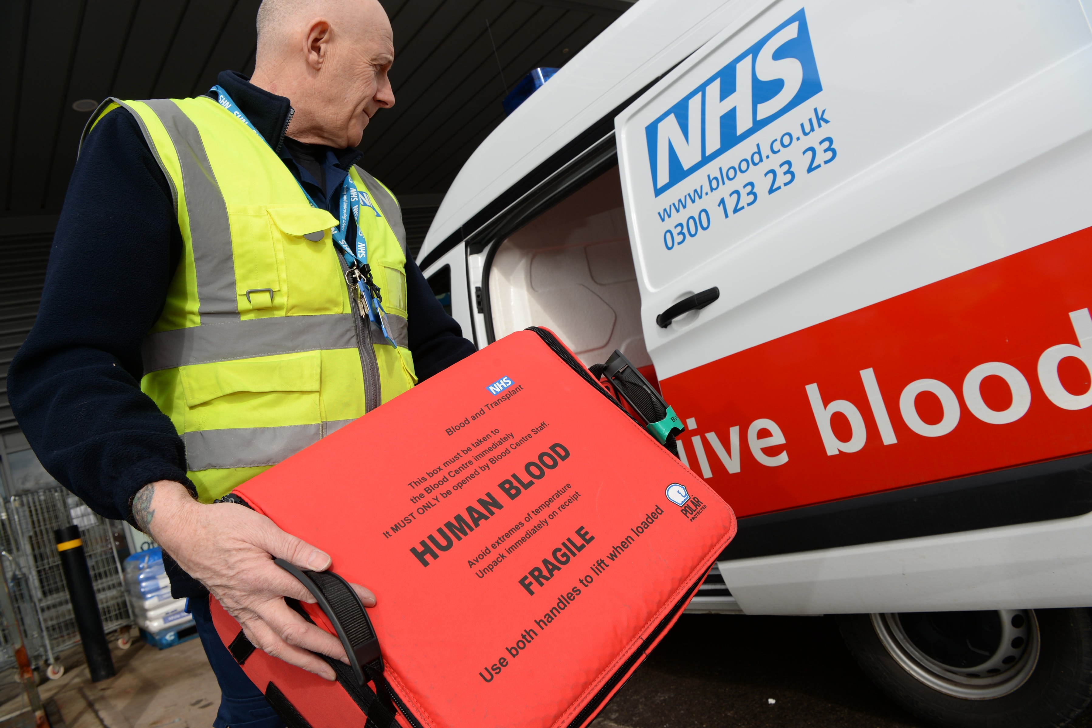 Blood products are carried in boxes