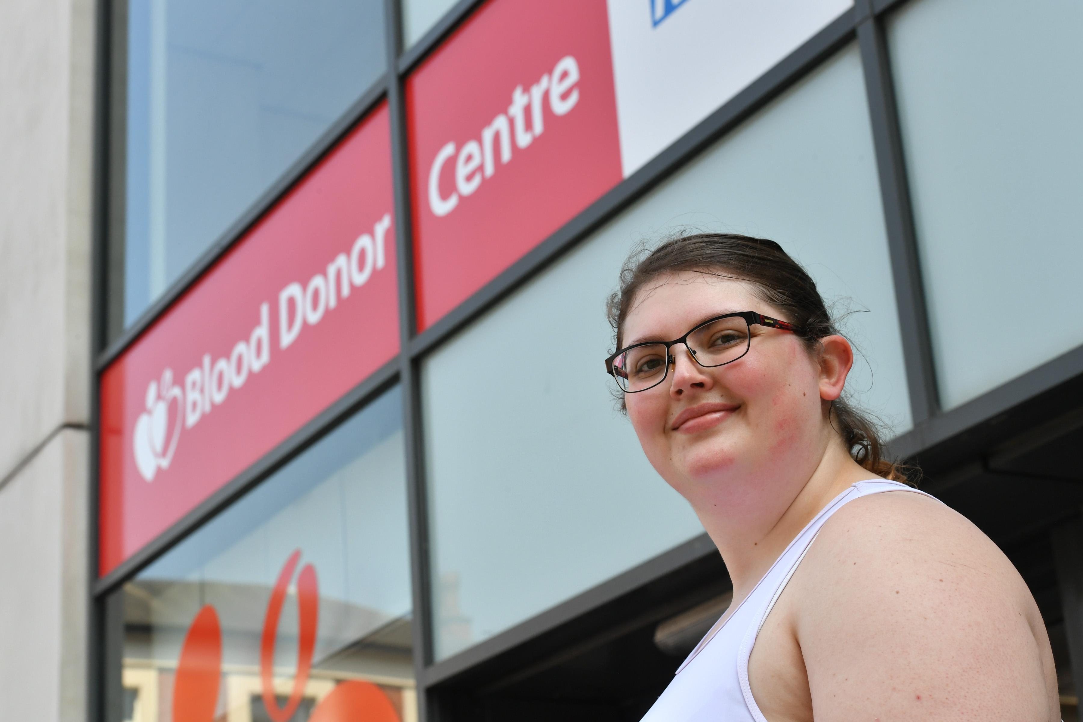Blood donor Emma Ayres outside Nottingham Donor Centre